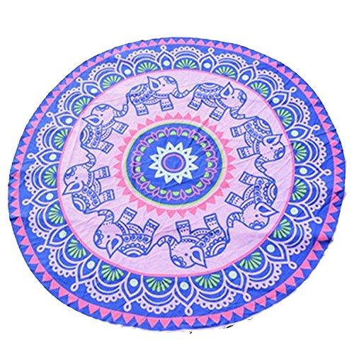 TEERFU Indien Ronds de Plage, Tapisserie, Hippie tapisseries, Plumes Paon Imprimé Tapisserie, literie Couvre-Lit, Drap de Plage, Nappe de Pique-Nique, Décoration Murale à Suspendre