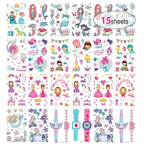 Tatuajes Temporales Niños Niñas, MMTX 200pcs Princesa Sirena Tatuaje temporales Falso Pegatinas para niños niñas Dibujos Animados para Infantiles de Cumpleaños Regalo(15 Hojas)