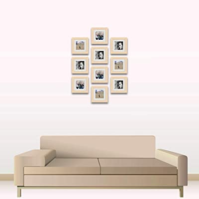 ArtzFolio Wall Photo Frame D497 Natural Brown 6x6inch;Set of 10 PCS with Mount