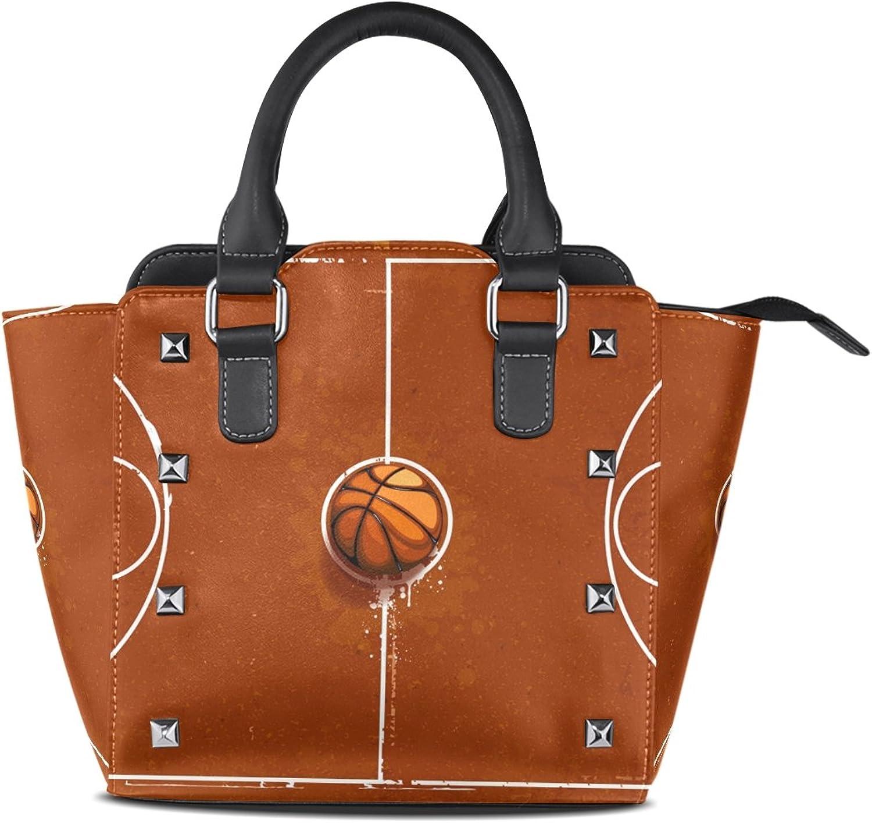 Sunlome Grunge Basketball Playground Print Handbags Women's PU Leather Top-Handle Shoulder Bags