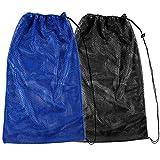 "2 Packs Mesh Gear Bag for Snorkel Equipment, Oversized 18"" x 27"" Mesh Dive Bag Scuba Diving Bag Snorkel Bag Backpack for Snorkeling Gear, Fins, Swimming Gear, Beach and Sports Equipment (Black & Blue)"