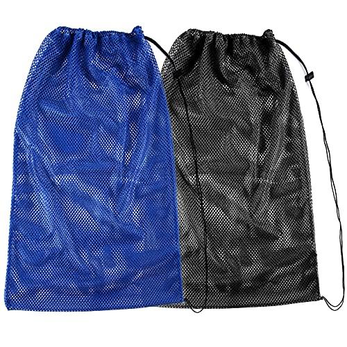 2 Packs Mesh Gear Bag for Snorkel Equipment, Oversized 18 x 27 Mesh Dive Bag Scuba Diving Bag Snorkel Bag Backpack for Snorkeling Gear, Fins, Swimming Gear, Beach and Sports Equipment (Black & Blue)