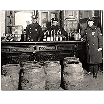 Prohibition - Dark Times Black and White Vintage Photo- 11x14 Unframed Bourbon Whiskey Speakeasy Print - Makes Great Man Cave She Shed or Home Bar Decor and Gift Under $15