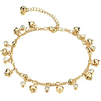 Adjustable COOLSTEELANDBEYOND Beautiful Link Chain Anklet Bracelet with Dangling Grooved Hearts and Jingle Bells