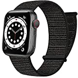 AdMaster Sport Nylon Velcro Band Compatible with Apple Watch 42mm 44mm 45mm, Adjustable Breathable Woven Men Women Braided Loop Strap Compatible for iWatch Series 7/6/5/4/3/2/1 SE 42/44/45 mm Black