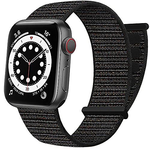 AdMaster Nylon Loop Klett Armband Kompatibel mit Apple Watch 42mm 44mm 45mm, Sport Einstellbar Stoff Geflochten Klettverschluss Herren Damen Band für iWatch Series 7 6 SE 5 4 3 2 1 Helles Schwarz
