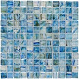MTO0083 Classic 1X1 Stacked Squares Blue Green Gray Glossy Glass Mosaic Tile