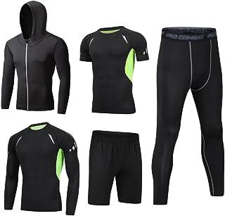 caa72dbd2ee7 Dooxii Uomo 5 Pezzi Completi Sportivi Abbigliamento Giacca con Cappuccio  Manica Corta Manica Lunga Camicie a