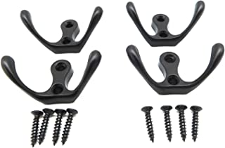 AWTOK Retro Double Robe Hooks,Oil Rubbed Hooks with Screws (4 PCS Black Robe Hook & 8 Black Screws)