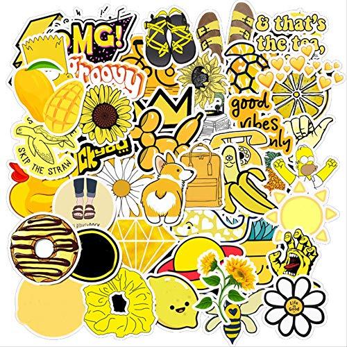 LANYU Paquete de Pegatinas de Viento Fresco Amarillo de Verano para el portátil, Nevera, teléfono, monopatín, Maleta de Viaje, Equipaje, Pegatina Bonita, 50 Uds.