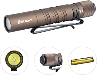 Olight I3T EOS 180 Lumens Dual-Output Slim EDC Flashlight for Camping and Hiking, Tail Swith Flashlight with AAA battery (Desert Tan)