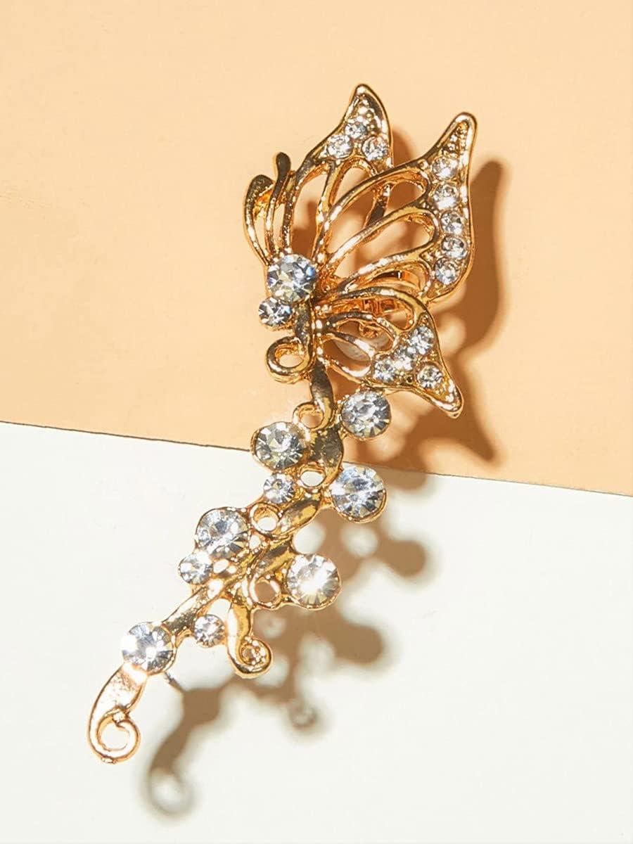 Shower set Hoop Earrings 1pc Rhinestone Decor Butterfly Ear Cuff (Color : Multicolor)