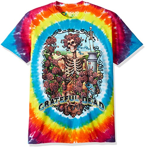 Liquid Blue Men's Grateful Dead Rainbow Bertha Short Sleeve T-Shirt, Multi Tie Dye, X-Large