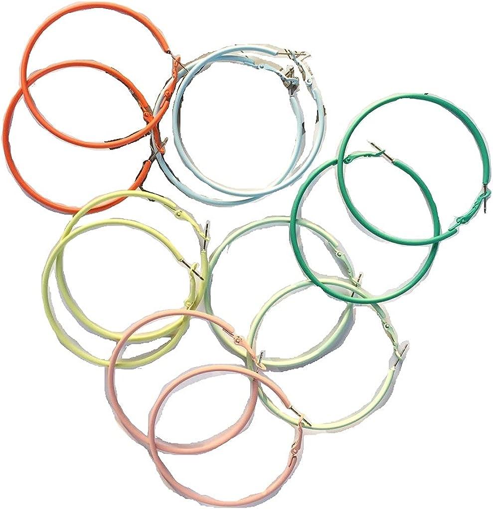 6 Pairs Colorful Hoop Earrings for Women Girls, Hypoallergenic Geometric Hoops Women's Earrings Loop Earrings Set