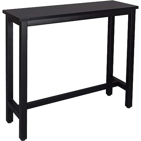 WOLTU BT17sz Table de Bar 120x40x100cm Table Bistrot Table à Manger, Structure en métal et Plateau en MDF Robuste,Noir