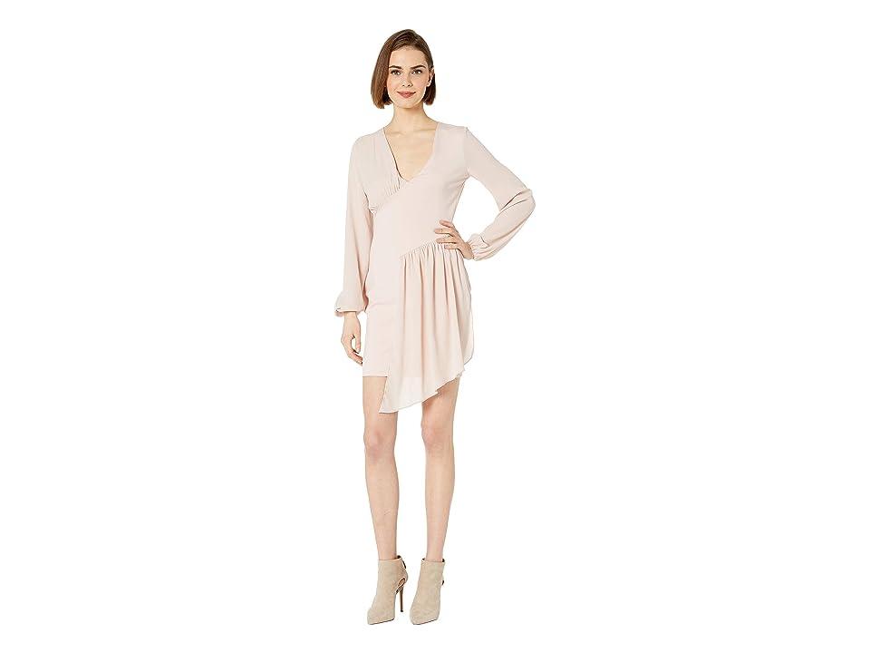 Bebe Knit Asymmetrical Drape Dress (Sepia Rose) Women