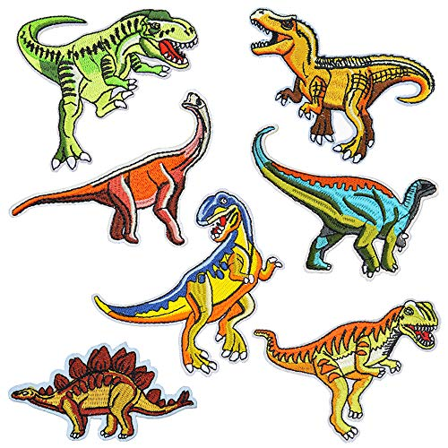 Ceqiny 7PCS Iron On or Sew On Patch Embroidery Cloth Stickers Dinosaur Shape Sticker lroning Patch Decorative Patches Assorted DIY Cloth Backpacks Jeans Coats for Women Men Child, Different Size