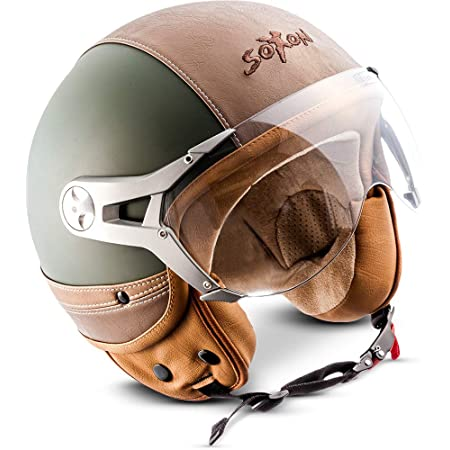 Soxon Sp 325 Imola Black Jet Helm Motorrad Helm Roller Helm Scooter Helm Moped Mofa Helm Chopper Retro Vespa Vintage Pilot Biker Helmet Ece 22 05 Visier Schnellverschluss Tasche M 57 58cm Auto