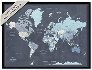 Navy Travel Map with Pins | Framed World Wall Map with Push Pins | Personalized Family Travel push pin map