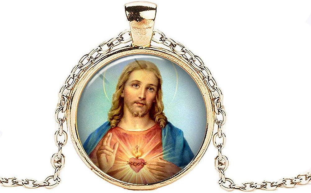 FOY-MALL Fashion Metal Glass Jesus Christ Pendant Chain Necklace XL1560N