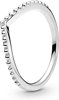 Pandora Jewelry Beaded Wishbone Sterling Silver Ring, Size 7