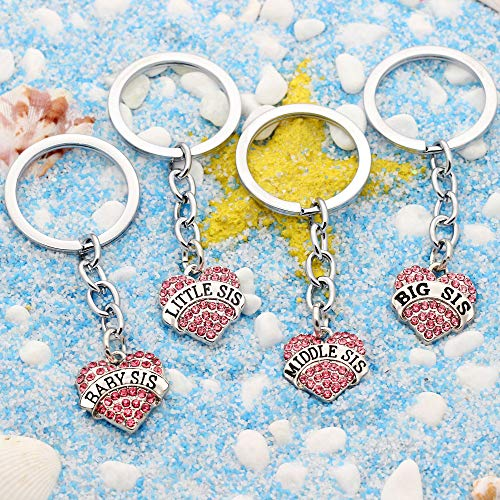 4pcs Women Girl Gift Big Middle Little Baby Sister Love Heart Pendant Key Chain Ring Set Family Jewelry (4pcs Pink B/M/L/B Sister Key Chains) Photo #7