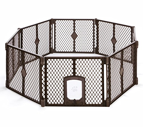 North States MyPet 34 Sq. Ft. Petyard Passage: 8 panel pet enclosure with lockable pet door. Freestanding, 7 sq. ft - 34 sq. ft. (26' tall, Brown)