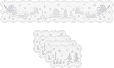 Christmas Table Runner and Placemats Set- White, Set of 5 | 1PC Lace Xmas Table Runner (13 x 72 Inch) and 4 PCS Lace Table Placemats for Holiday Christmas Table Decorations Dinner Party Supplies