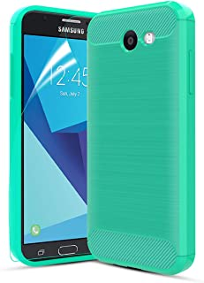 CaseRoo Compatible with Samsung Galaxy J3 Emerge/J3 Prime/J3 Eclipse/J3 2017/J3 Luna Pro/Amp Prime 2/Express Prime 2 Case w/Screen Protector,Carbon Fiber Brushed TPU Cover Case for Galaxy Sol 2,Green