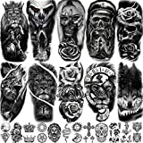 EGMBGM 22 Sheets Halloween Skull Temporary Tattoos For Women Neck 3D Pirate...