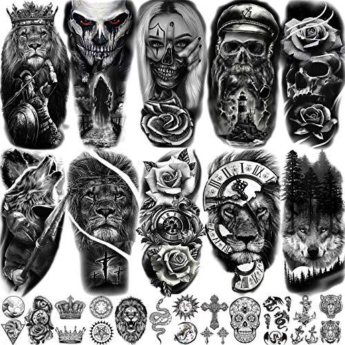 EGMBGM 22 Sheets Halloween Skull Temporary Tattoos For Women Neck 3D Pirate Captain Lion Warrior Evil Joker Gangster Fake Tattoo Stickers For Men Adults Arm Rose Flower Cross Long Lasting Tatoos Kids