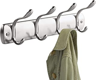 iDesign Bruschia Wall Mounted Entryway and Mudroom Storage Rack, 4 Hooks for Jacket, Coat, Scarf, Hat, Leash, Keys, 13