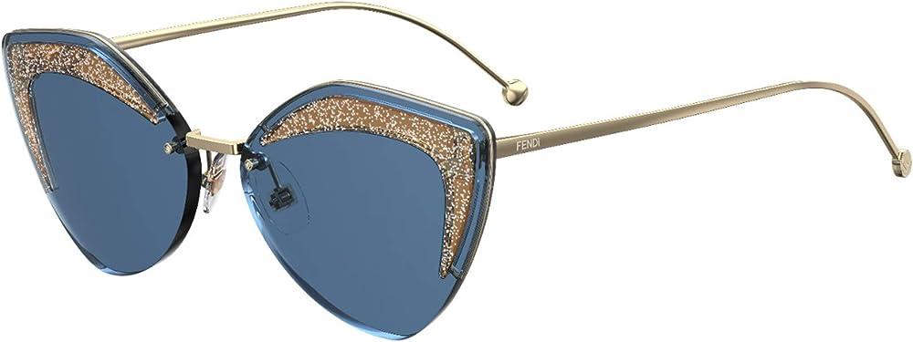 Fendi, occhiali da sole per donna, montatura in metallo, inserti a contrasto sulla parte frontale 0355/SA