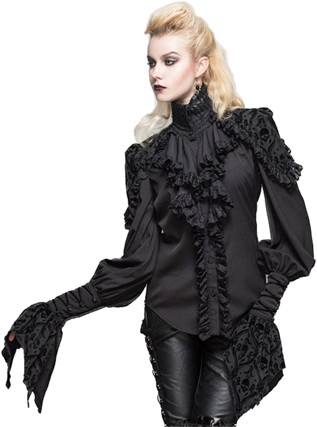 Devil fashion Gothic Womens Victorian Lace Shirts Blouse Stand Collar Steampunk Lolita Tops