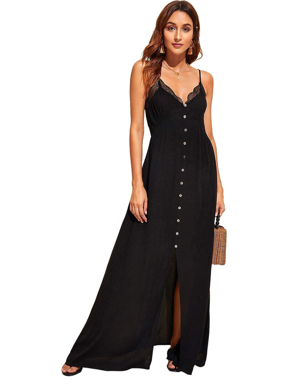 Verdusa Women's Button Front Lace Trim Spaghetti Strap Split Maxi Dress