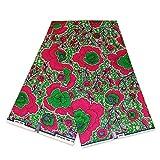 Afrikanischer Stoff, pink/grün, offene Blumen, Wachstuch
