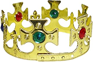 MA ONLINE Boys King Crown Gold Headpiece with Jewels 59 cm Mens Hen Night Party Accessory