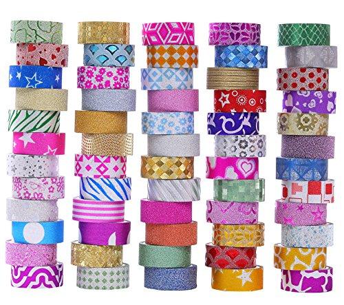 60 Rollen Glitter Washi Klebeband Set, Washi Masking Dekorative Bänder für DIY Dekor Planer Scrapbooking Klebstoff Schule / Party Supplies