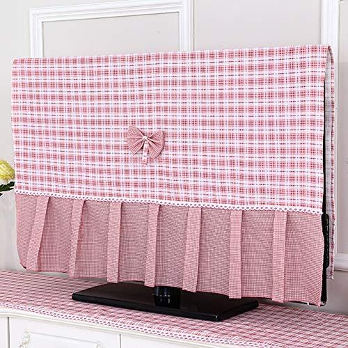 TINGTING Tv Abdeckung Staubtuch Hängen LCD Fernseher Staubschutzhaube Überwachen Gitter Bow Stoffkunst Monitorabdeckungen (Color : Pink, Size : 46-47 inches-105 * 66cm)