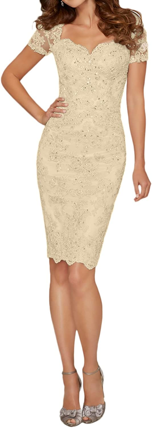 DINGZAN Short Sleeves Sheath Lace Applique Mother of The Bride Dresses