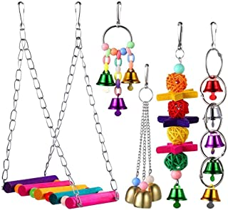 Womdee Bird Perches Swing Toys, 5 Pack Cage Hammock swing Toy Set