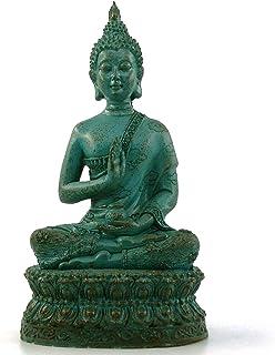 "Ornerx Thai Sitting Buddha Statue for Home Decor Verdigris 6.7"""