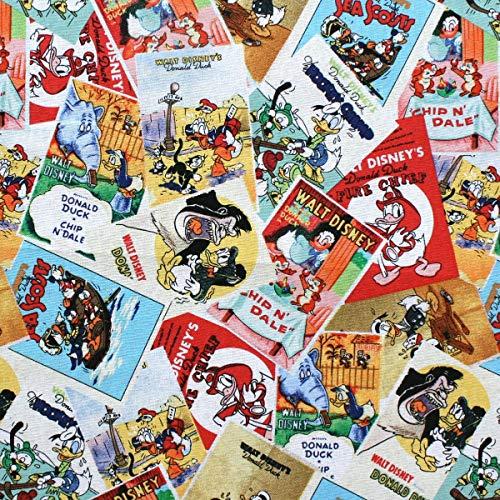 COTTON GARDEN 【USA】ディズニー キャラクター柄プリント50×110cm (UDS-112) パッチワーク 生地 キルト 布 USA アメリカ輸入生地 綿 ミッキーマウス ミニーマウス ドナルドダック