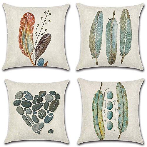 HuifengS - Fundas de cojín cuadradas de lino - decorativas, para sofás o camas - con motivo tropical, de bosque, plantas, juego de 4 fundas de cojín de 45,7 x 45,7 cm