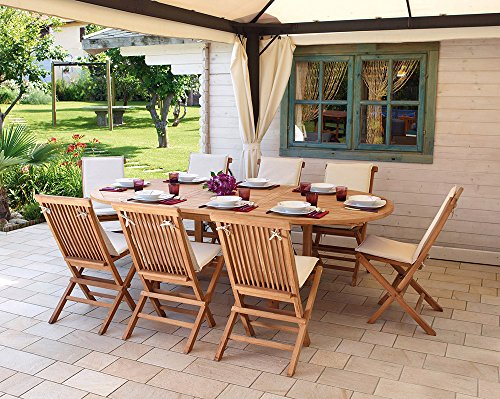 PEGANE Table Ovale Extensible en Bois Teck - Dim : 180/240 X 120 cm