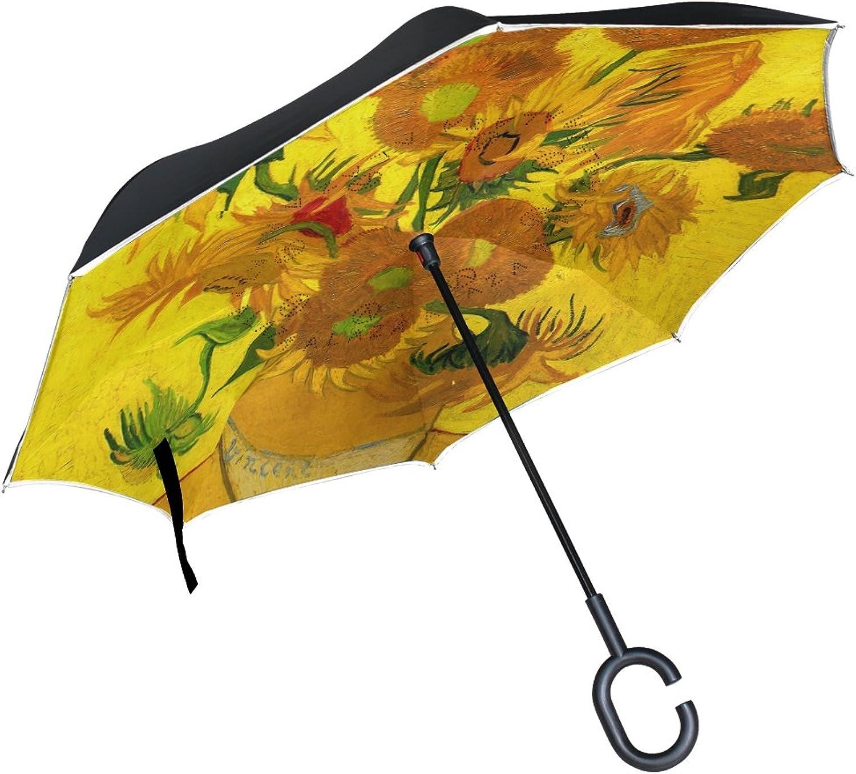 Mydaily Double Layer Ingreened Umbrella Cars Reverse Umbrella Sunflowers Oil Painting Windproof UV Proof Travel Outdoor Umbrella