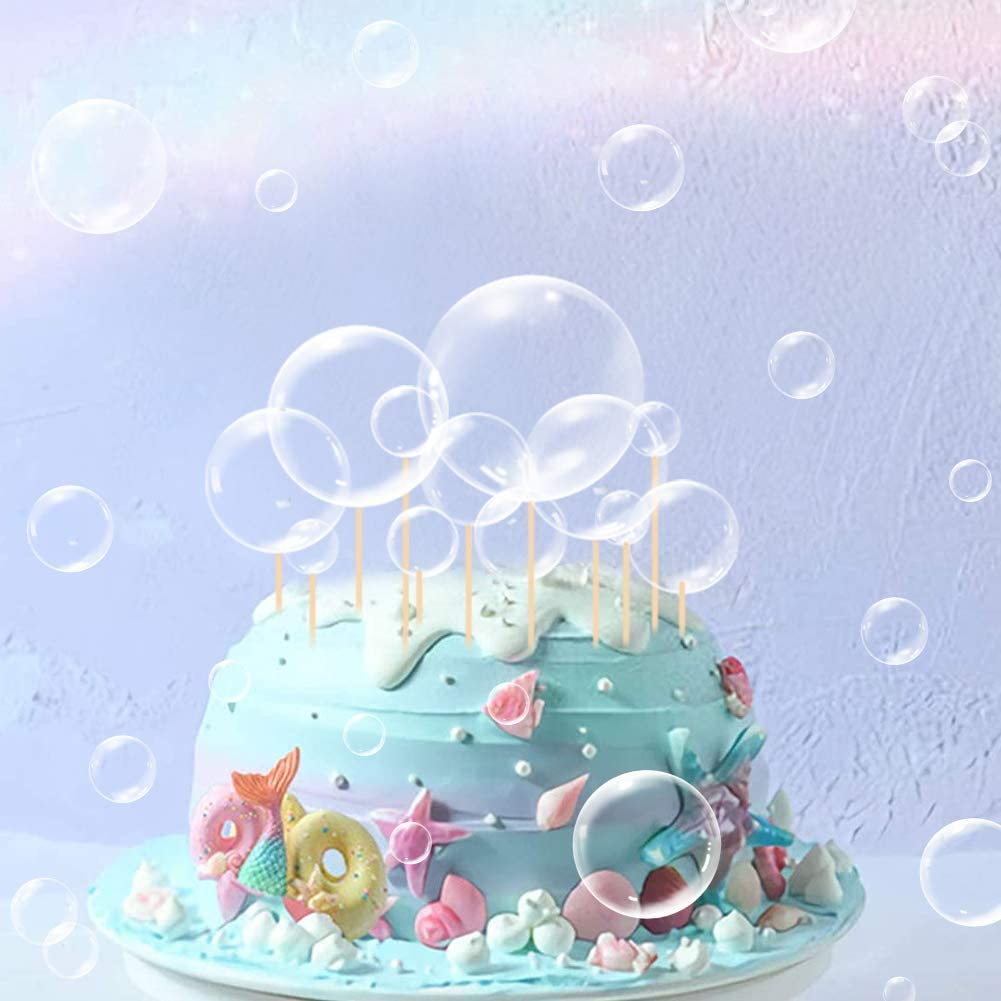 27Pcs Mermaid Party Cake Decor Transparent Bubble Cupcake Toppers For Ocean Party Cake Decorations Children's Party Supplies Under The Sea Party Cake Decorations