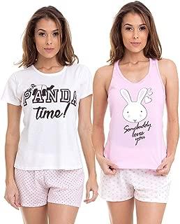 KIT 2 Pijamas Femininos Verão Short Doll Estampados Luna Cuore 1101-1301