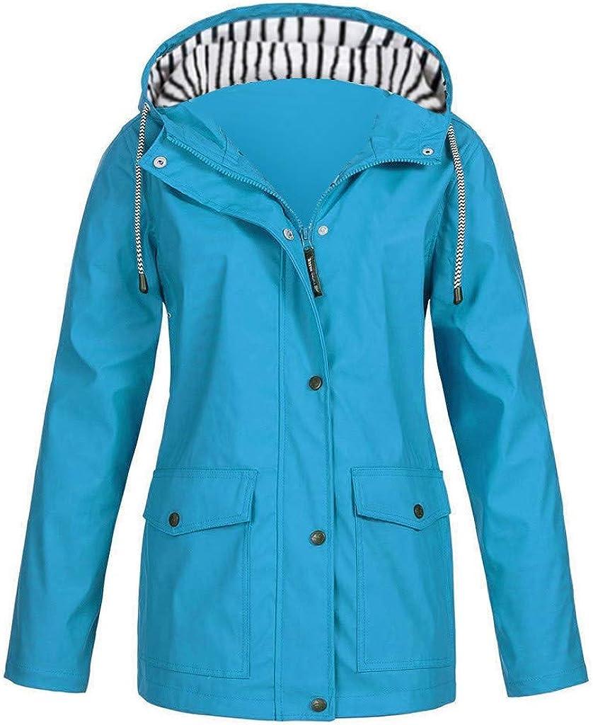 BEUU Women's Rain Jacket Lightweight Outdoor Coat Windproof Hooded Trench Coat Windbreaker Waterproof Raincoats Pockets