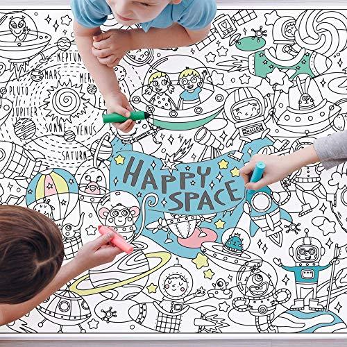 Ausmaltischdecke Kinder-Geburtstag XXL | Weltraum Happy Space Weltall Astronaut Rakete | Papier-Tischdecke A0 Bunt Ausmalen | Mädchen & Jungen | Party Tisch-Deko Poster Geschenkidee